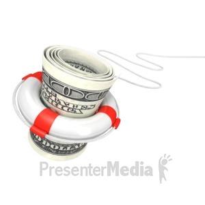 ID# 2837 - White Life Buoy Save Dollar - Presentation Clipart