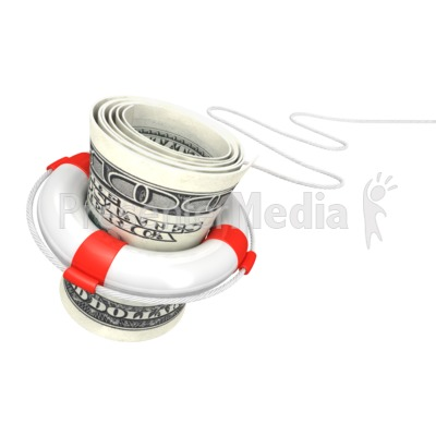 White Life Buoy Save Dollar PowerPoint Clip Art