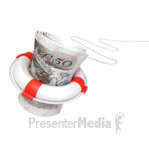 ID# 2838 - White Life Buoy Save British Pound - Presentation Clipart