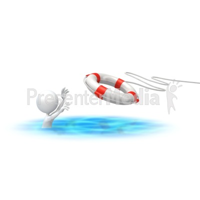 Stick Figure Rescue Buoy PowerPoint Clip Art