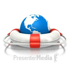 ID# 2853 - Earth Inside Life Buoy - Presentation Clipart
