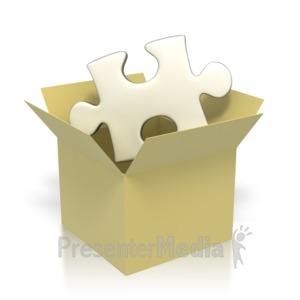ID# 2864 - Puzzle Piece In Box  - Presentation Clipart