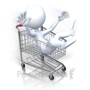ID# 2871 - Stick Figure Riding Shopping Cart - Presentation Clipart