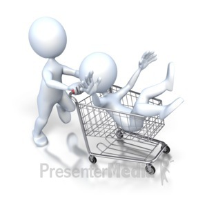 ID# 2875 - Stick Figure Pushing Guy Shopping Cart - Presentation Clipart