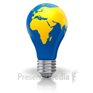 ID# 2885 - Light Bulb World Map Africa Europe Asia - Presentation Clipart
