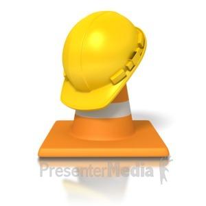 ID# 2891 - Hardhat Traffic Cone - Presentation Clipart
