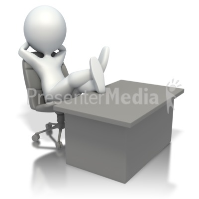 3D Stick Figure Relaxing At Desk Presentation clipart
