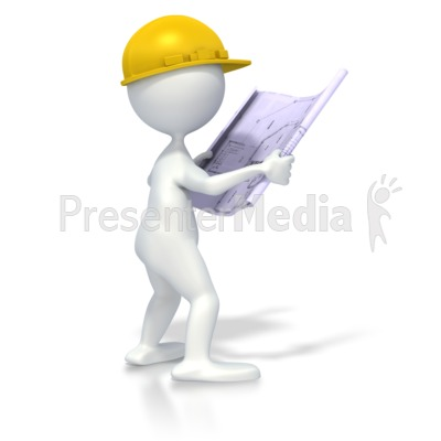 Figure with blueprints science and technology great clipart figure with blueprints powerpoint clip art malvernweather Images