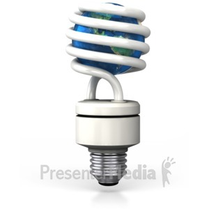 ID# 2932 - Earth Inside Cfl Light Bulb - Presentation Clipart