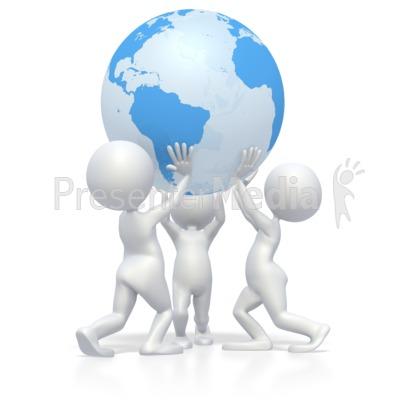 Teamwork Lift Earth  PowerPoint Clip Art