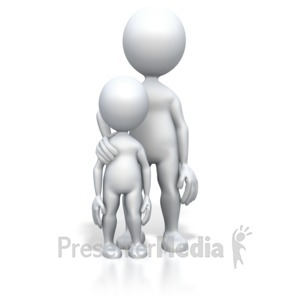 ID# 2969 - Parent Child Standing - Presentation Clipart