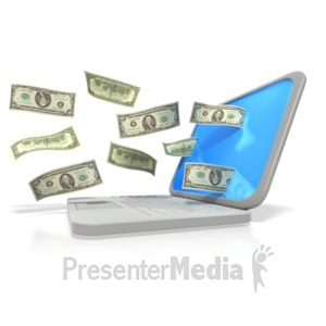 ID# 2978 - Money Through Laptop  - Presentation Clipart