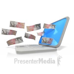 ID# 2981 - Money Through Laptop Pound - Presentation Clipart