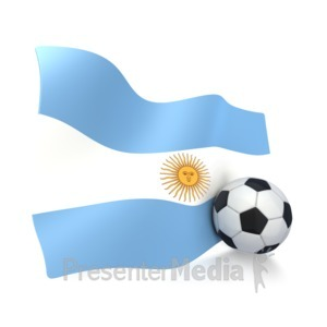 ID# 3003 - Argentina Flag With Soccer Ball - Presentation Clipart