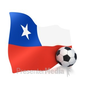 ID# 3005 - Chile Flag With Soccer Ball - Presentation Clipart