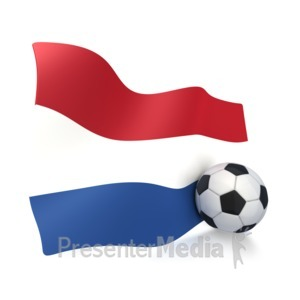 ID# 3007 - Netherlands Flag With Soccer Ball - Presentation Clipart