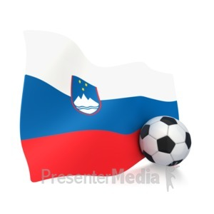 ID# 3008 - Slovenia Flag With Soccer Ball - Presentation Clipart