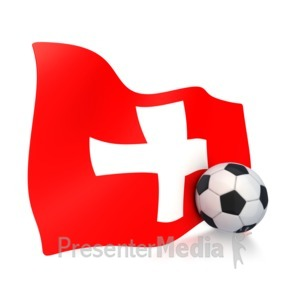 ID# 3009 - Switzerland Flag With Soccer Ball - Presentation Clipart