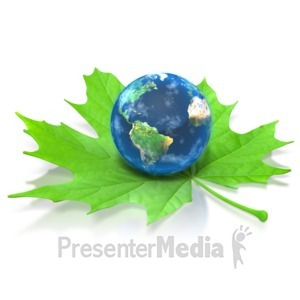 ID# 3025 - Earth on Green Leaf - Presentation Clipart