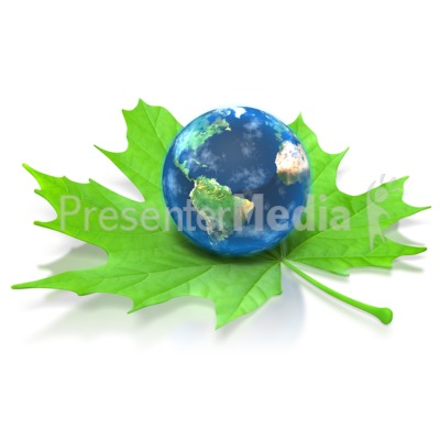 Earth on Green Leaf PowerPoint Clip Art