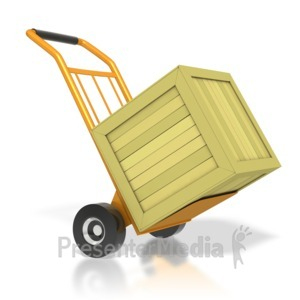 ID# 3038 - Warehouse Dolly With Crate - Presentation Clipart