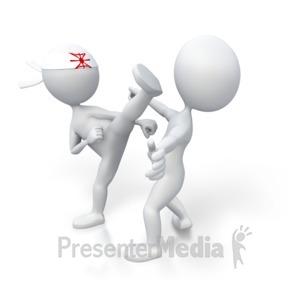 ID# 3040 - Martial Arts Kick Opponent - Presentation Clipart