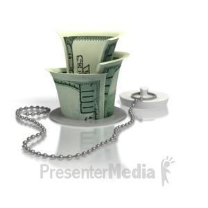 ID# 3054 - Money Down The Drain - Presentation Clipart
