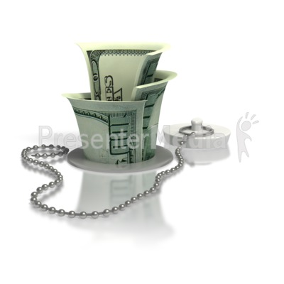 Money Down The Drain PowerPoint Clip Art