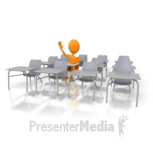 ID# 3067 - Student Hand Raised - Presentation Clipart