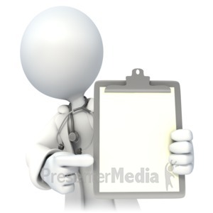 ID# 3079 - Doctor Holding Blank Chart - Presentation Clipart