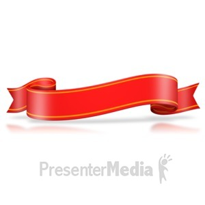 ID# 3090 - Red Flag Wavy Banner - Presentation Clipart