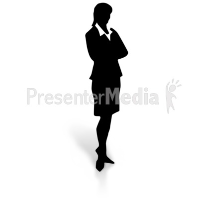 Silhouette of a Woman in a Dress Skirt PowerPoint Clip Art