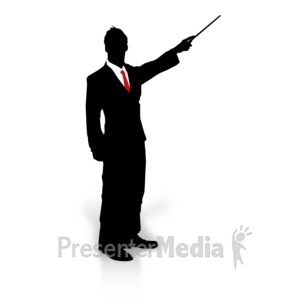 ID# 3094 - Businessman Silhouette Point - Presentation Clipart