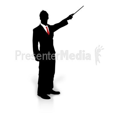 Businessman Silhouette Point PowerPoint Clip Art