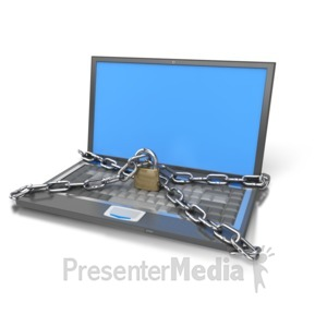 ID# 3100 - Laptop Computer Locked Up - Presentation Clipart