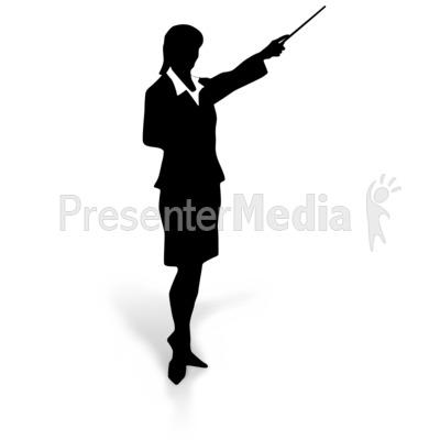 Businesswoman Silhouette Point PowerPoint Clip Art