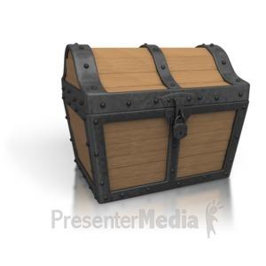 ID# 3107 - Black Treasure Chest Closed - Presentation Clipart