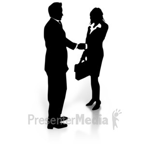 ID# 3110 - Business Silhouette Shake - Presentation Clipart