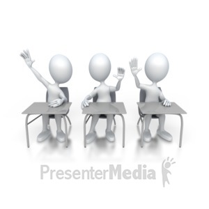 ID# 3120 - Students Raising Hands in Class  - Presentation Clipart