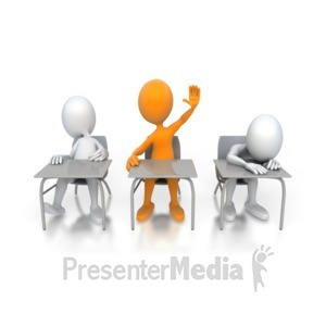 ID# 3121 - Single Student Raises Hand - Presentation Clipart