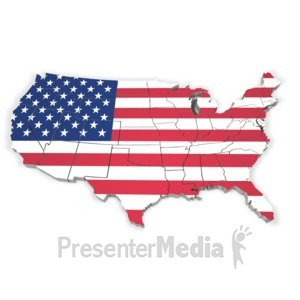 ID# 3123 - United States Map With Flag - Presentation Clipart