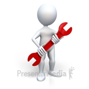 ID# 3135 - Stick Figure Holding Wrench - Presentation Clipart