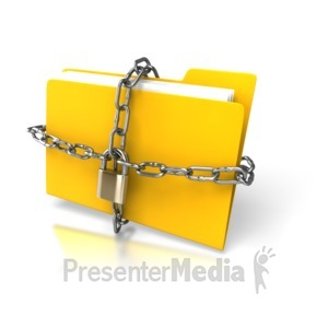 ID# 3156 - Yellow Folder Chained Up - Presentation Clipart