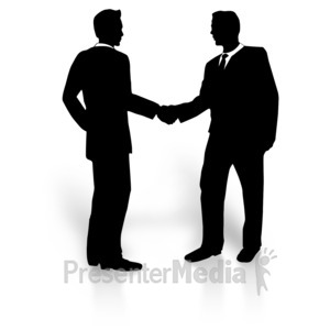 ID# 3190 - Business Men Silhouette Shake - Presentation Clipart