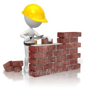ID# 3206 - Brick Wall Construction  - Presentation Clipart