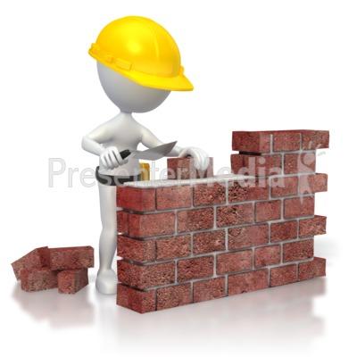 Woman Brick Wall Construction
