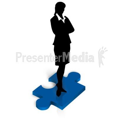 Businesswoman Stand Puzzle Piece PowerPoint Clip Art