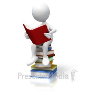 ID# 3230 - Stick Figure Sitting On Books - Presentation Clipart