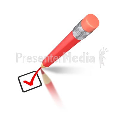 Pencil Drawing Red Check Mark PowerPoint Clip Art