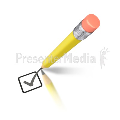 Yellow Pencil Drawing Check Mark PowerPoint Clip Art